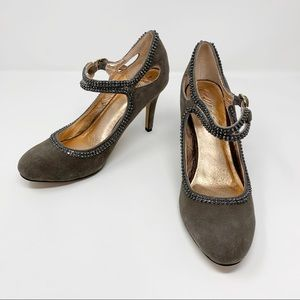 🌴Miss Albright Grey Suede Beaded Mary Janes 8.5